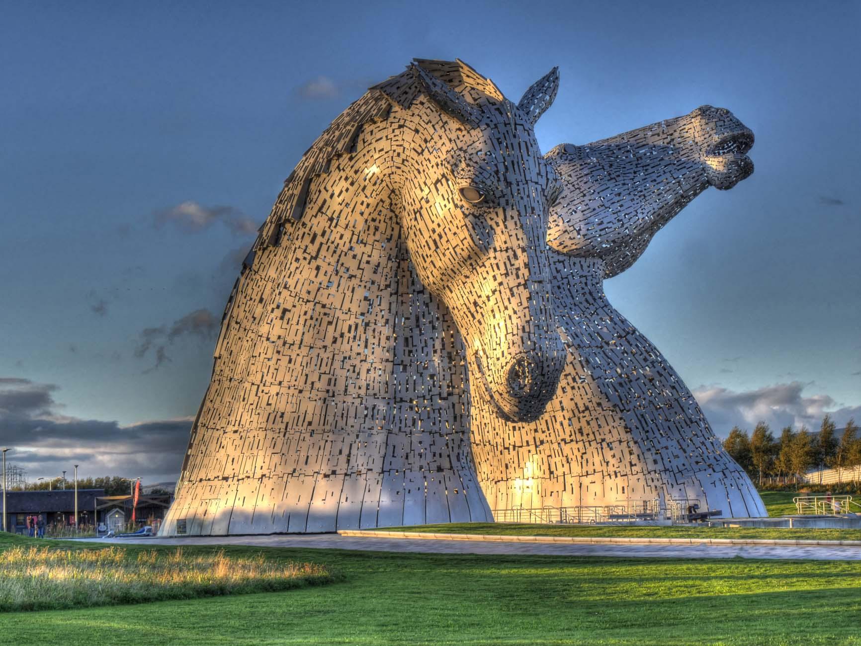 the Kelpies jigsaw puzzles , , Helix park, Falkirk HDR